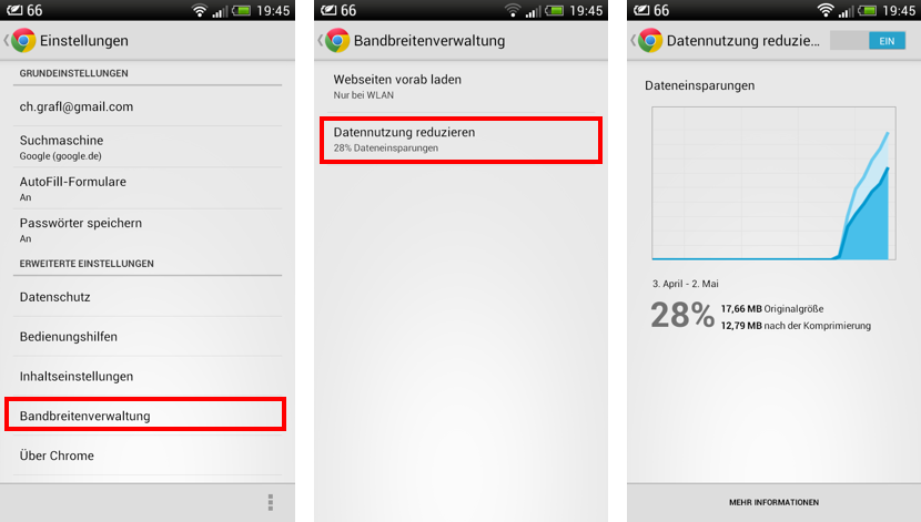 Brandbreitenverwaltung in Chrome Mobile