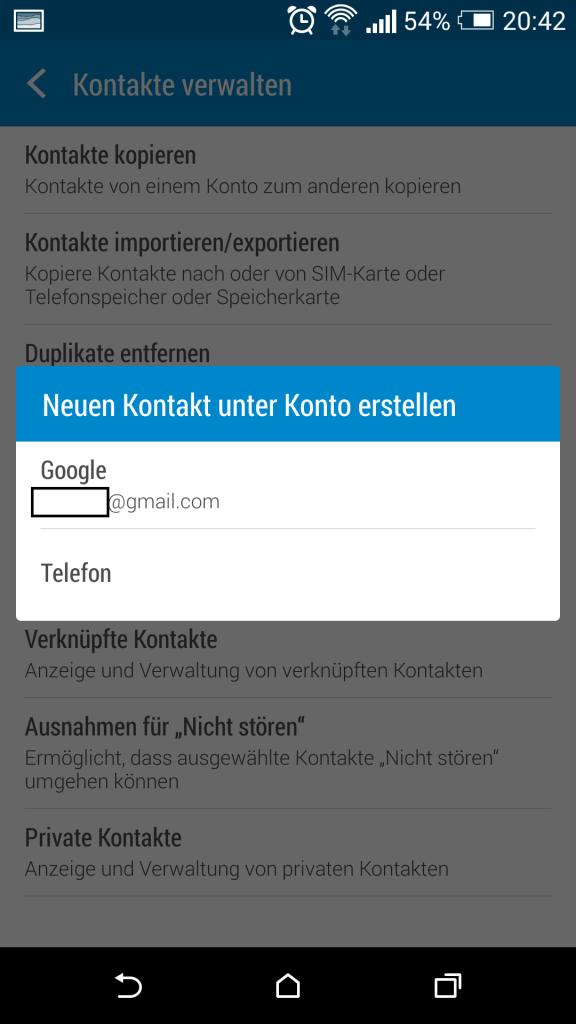 Problembehebung bei der Synchronisation von Google Kontakten über Android
