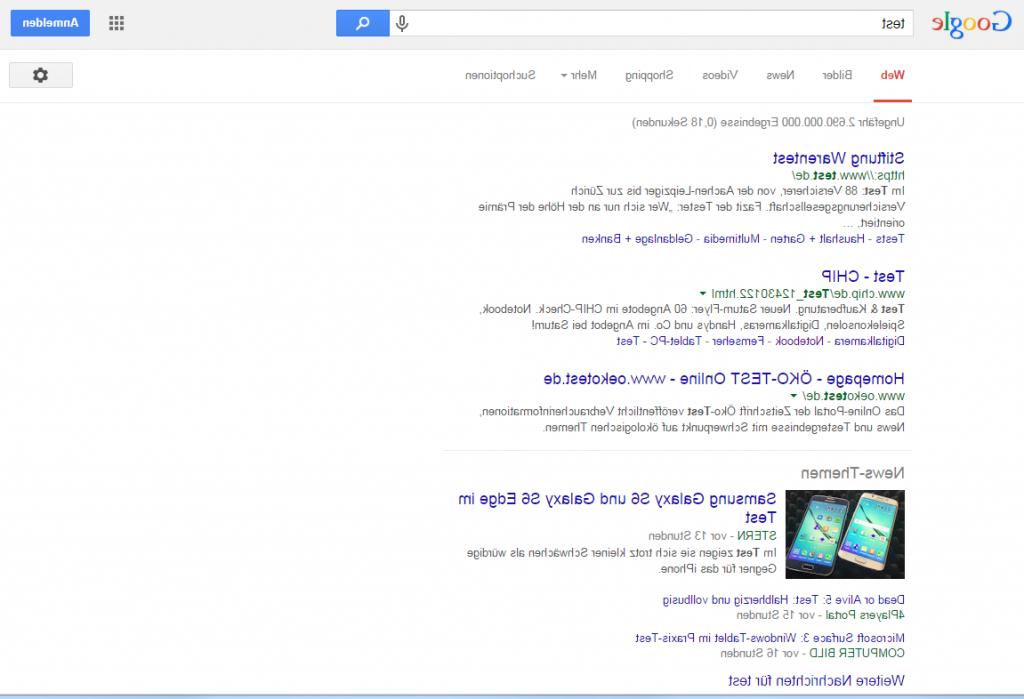 Die gespiegelte Google Suche
