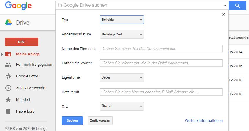 Google Drive Suche