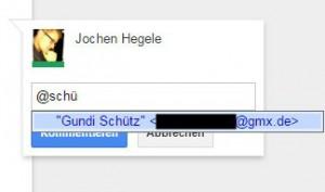 Kommentarfunktion in Google Docs - Autovervollständigung