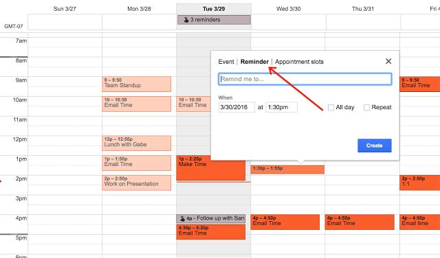 Erinnerungen im Google Kalender im Web
