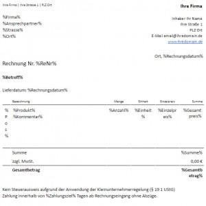 Rechnungsvorlage Für Kleinunternehmer Eine Rechnung Erstellen Mit