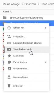 Google Drive Ordner verschieben über kontextmenü