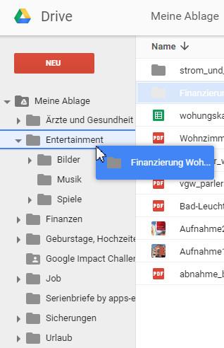 Google Drive Ordner verschieben Drag & Drop