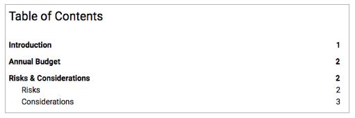 Inhaltsverzeichnis mit Seitenzahlen für Google Docs